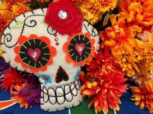 skull day of the dead marigold