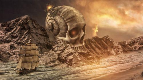 skull mountains sea