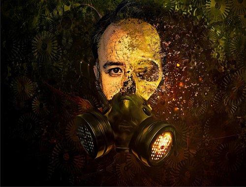 skull  gas mask  disintegrate