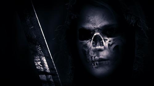 skull hood sword