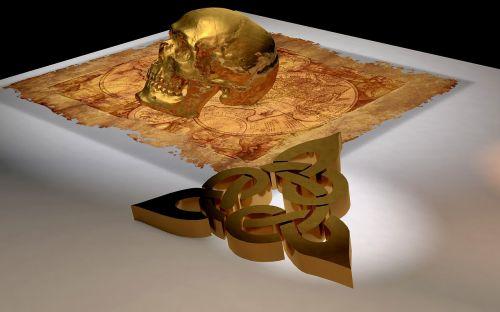 skull and crossbones treasure map symbol