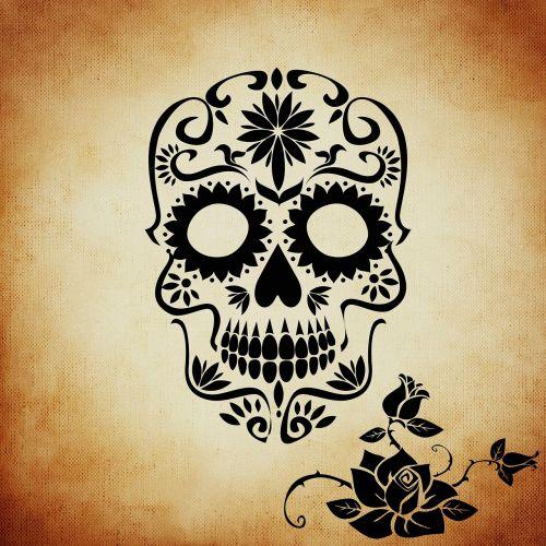skull and crossbones rose background