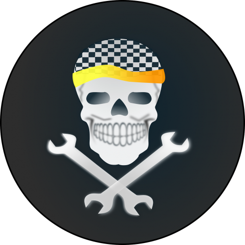 skull and wrenches racing checkered
