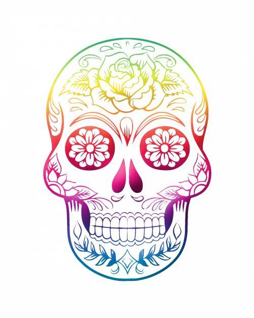 kaukolė, galva, miręs, kaulai, spalvinga, spalvinga, vaivorykštė, spalvos, izoliuotas, balta, fonas, Scrapbooking, Laisvas, viešasis & nbsp, domenas, kaukolė spalvinga