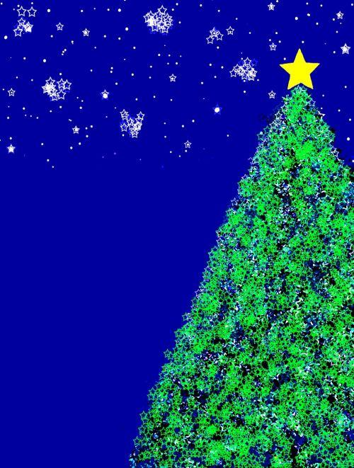 Kalėdos,dangus,žvaigždė,medis,geltona,mėlynas,žalias,naktinis dangus,Žvaigždėtas dangus,vakaras,naktis,žvaigždžių takai,Adventas,grafika,neusternbilder