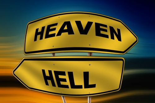 sky hell road sign