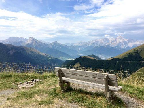 sky bench mountains