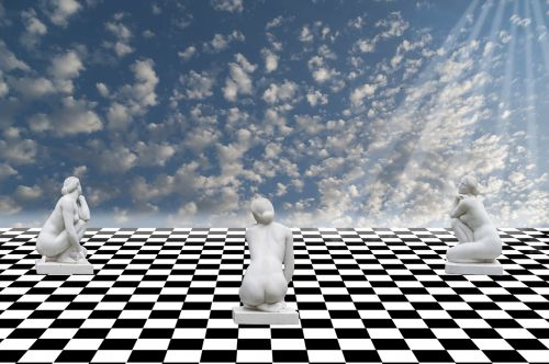 sky chess statues