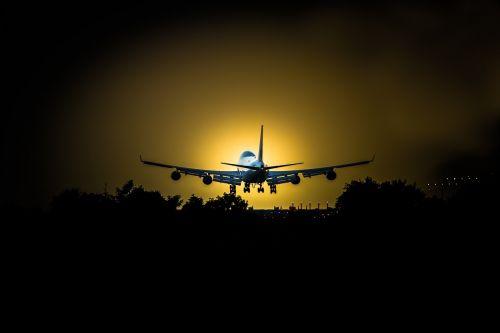 sky airplane sunset