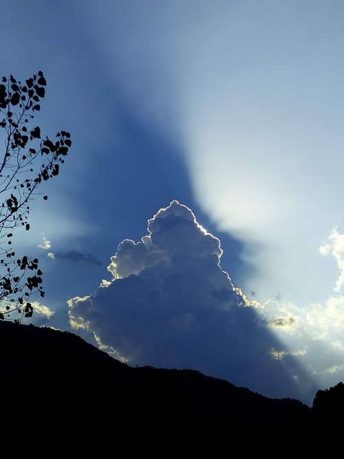 dangus, debesis, šviesos, šviesos spindulys, Saulė paslėpta, poveikis šviesos, dramatiškas, kamuolinis debesis