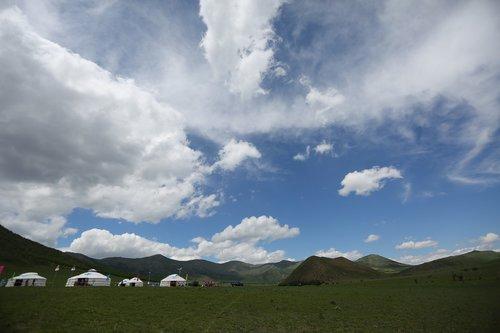 sky  yurt  mongolian