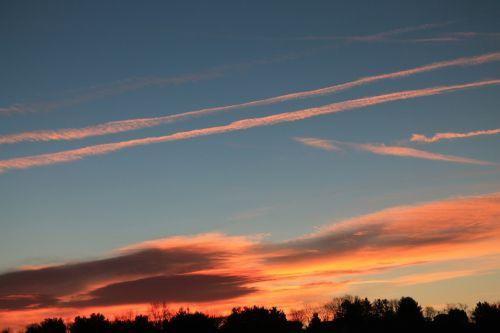 sky sunset contrail