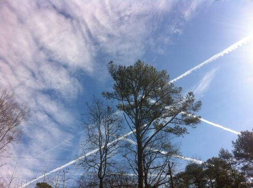 sky contrails clouds