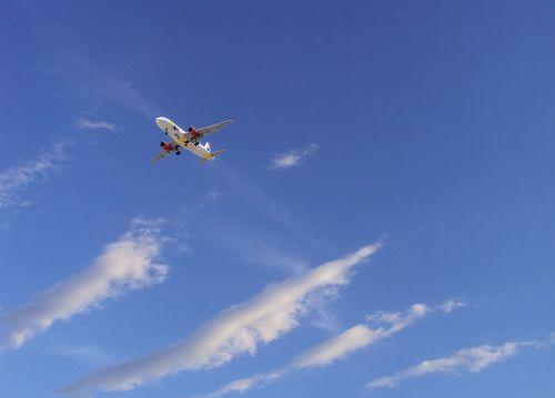 sky clouds plane