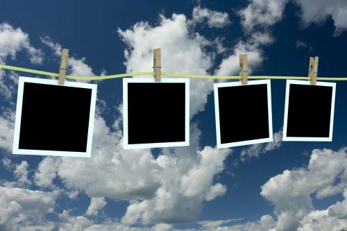 sky polaroid clothesline