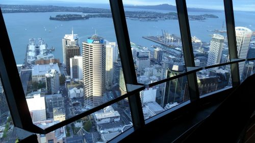 sky city tower view harbour new zealand