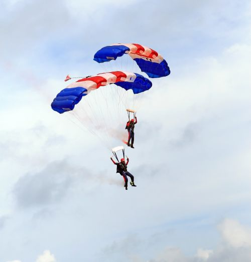 skydiving parachutes airplane
