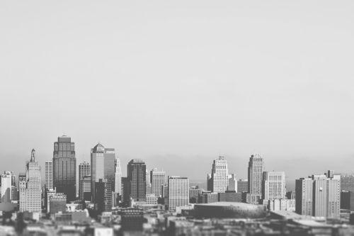 panorama, juoda & nbsp, balta, didmiestis, miestas, miesto panorama, vienspalvis, pastatas, architektūra, bokštas, miesto, centro, dangoraižis, vaizdas, šiuolaikiška, panorama, panorama