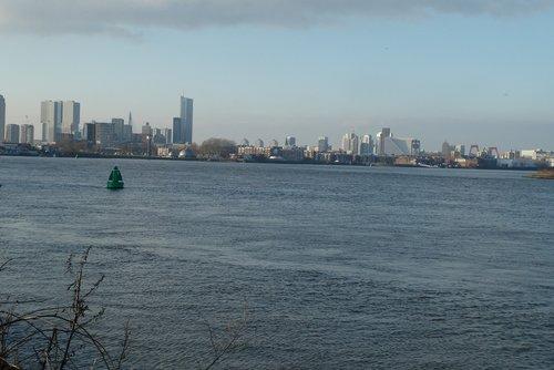 skyline rotterdam  river  new mesh