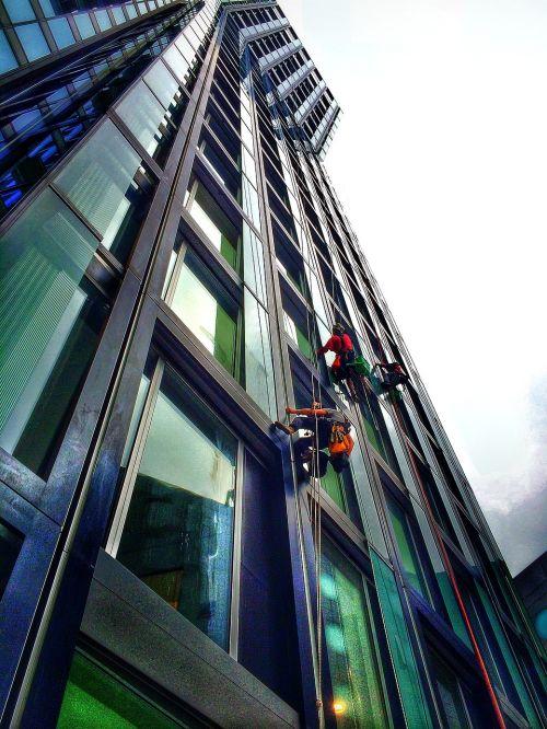 skyscraper work window cleaner