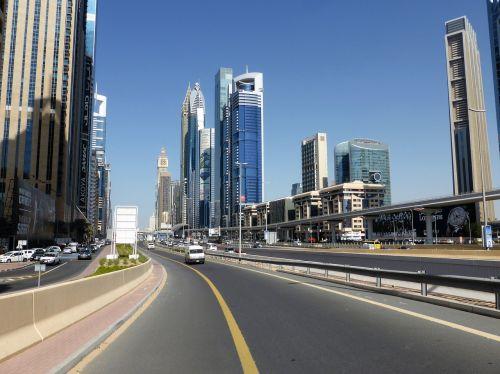skyscrapers highway dubai