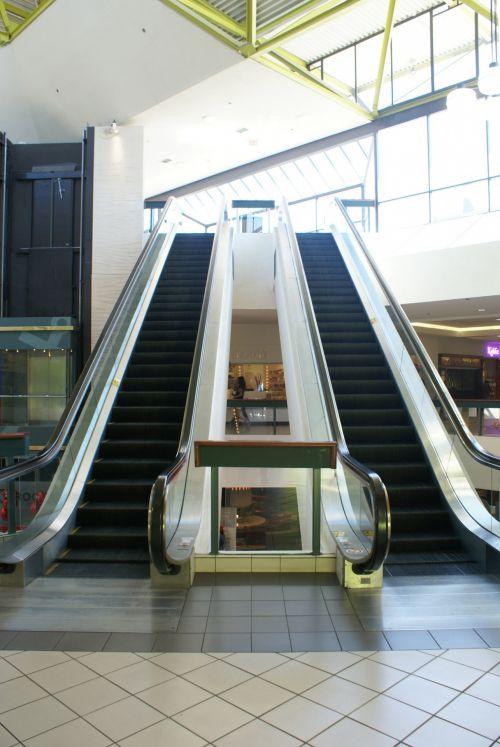 Sleek Steel Mall Escalator