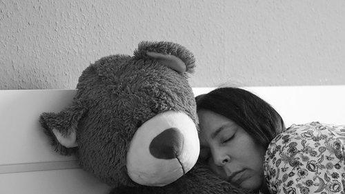 sleep  teddy  woman
