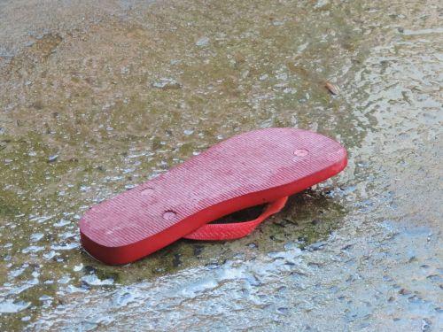 slipper wet floor red slipper