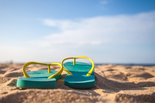 slippers  sand  blue
