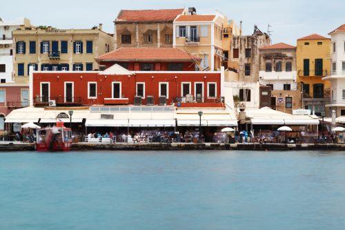 uostas, uostas, uostas, namai, senas, architektūra, užsiėmes, jūra, vanduo, pastatai, parduotuvės, Graikija, graikų kalba, Crete, Cretaan, Chania, mažas graikų uostas