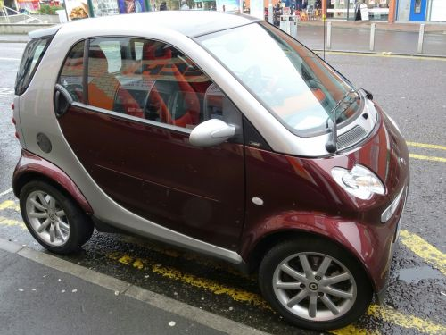 Smart Car Parked On Yellow Lines