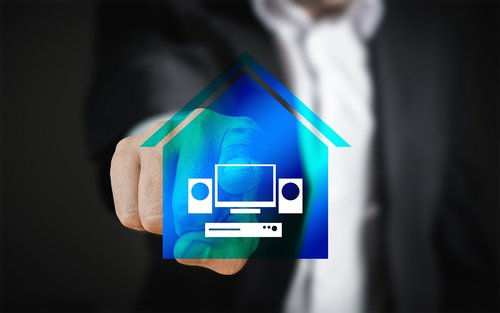 smart home  house  technology touch screen