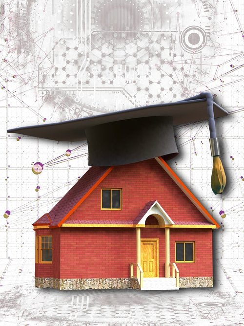 smart home  house  mortarboard