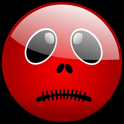 smiley,raudona,Halloween,avatar,baisu,nelaimingas,siūlės,Burna,nemokama vektorinė grafika