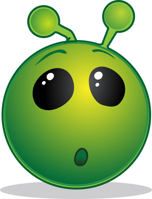 smiley green wow