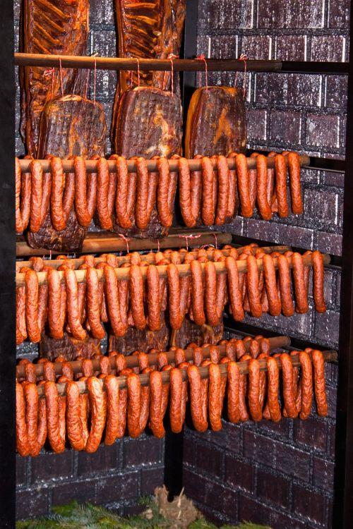smoking bratwurst sausage