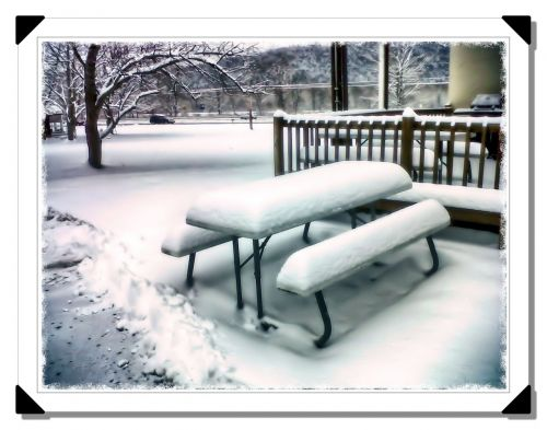 snow bench winter