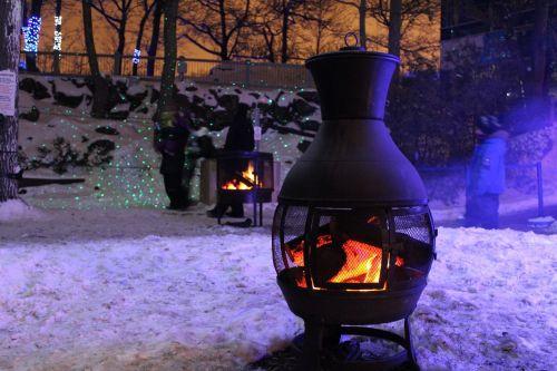 snow fire campfire