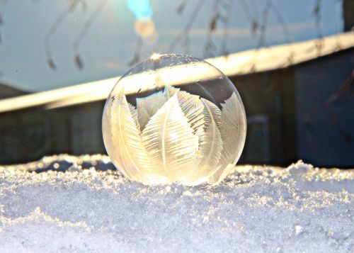 snow soap bubble frozen ice crystals