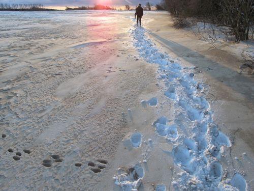snow sunset w