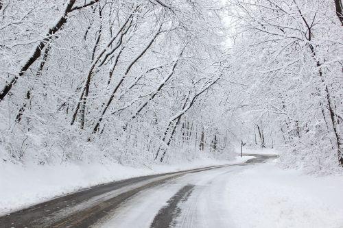 snow snowy road winter