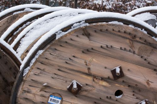 snow,new zealand,winter,white,cold,frozen,cable drums,wood,brown,beige,site,pattern,structure,about