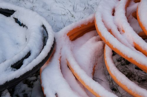 snow,new zealand,winter,white,cold,frozen,wood,cable,black,orange,fluorescent orange,neon colors,site