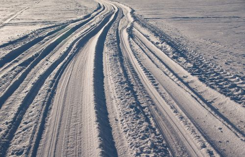 snow traces road