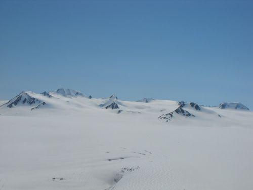 snow blue sky