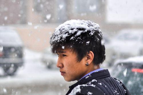 sniegas, stiprus sniegas, skrybėlę, berniukas, portretas, pavasaris