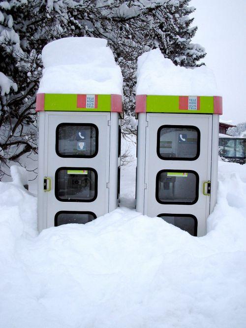 snow phone booth austria