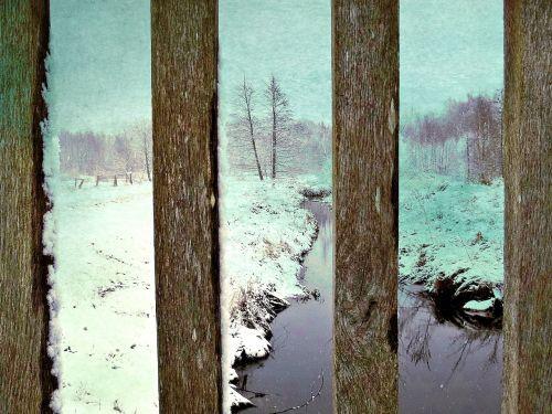 snow winter bridge