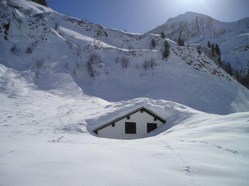 snow mountains hut