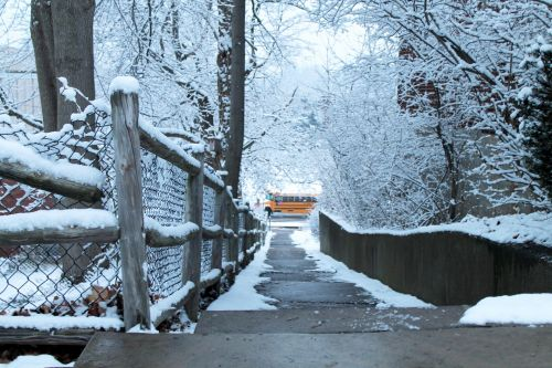 Snow Covered Fence Bus